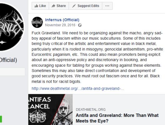 Infernus Praises Antifa, like a good (((Hollywood Satanist))).